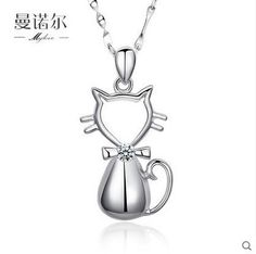Cat 925 silver necklace female accessories fashion silver pendants short design chain accessories christmas gift