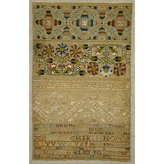British Sampler embroidered by Margreet, Lucun (1671-?) in 1681.  linen embroidered with silk.  cross, two-sided Italian cross, long-armed cross, satin, and detached buttonhole stitch, with eyelets