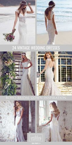 24 Vintage Inspired Wedding Dresses ❤ Our gallery of vintage inspired wedding dresses will show you vintage romance with ancient bohemian spirit. See more: http://www.weddingforward.com/vintage-inspired-wedding-dresses/ #wedding #bride #weddingdresses #AnnaCampbell  #vintagebridalgown