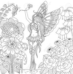 48956833-Hand-drawn-fairy-flying-in-flower-land-for-coloring-book-for-adult-Stock-Vector.jpg (1289×1300)