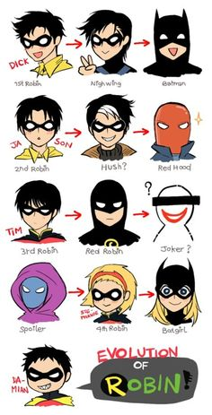 The evolution of Robin. Dick Grayson will always be my favorite <3