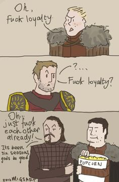 """migsart: """"Something to quench your thirst, people. I love Bronn and his blunt way of putting things. And Pod remains the sweetest potato on the show. Jaime And Brienne, Jaime Lannister, A Dance With Dragons, Mother Of Dragons, The Walking Dead Movie, Lyanna Mormont, Brienne Of Tarth, Best Popcorn, Game Of Thrones Art"""