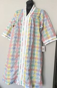 NWT Leisure Life for Vermont Country Store 1X Robe Housedress Seersucker  Zip  LeisureLife  Robes 3c72a480c