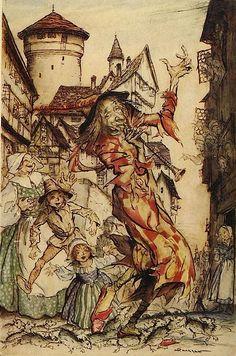 Illustration by Arthur Rackham . The Pied Piper of Hamelin.