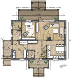 RAUHALA 188 - Kannustalo Floor Plans, Diagram, Sims, Mantle, Floor Plan Drawing, The Sims, House Floor Plans
