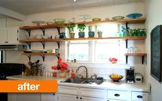 Before & After: A Rental Kitchen Gets A Slew of Style for $500. Love the open shelving across the windows.
