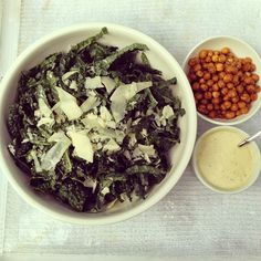 designer bags and dirty diapers: Kale Ceasar Salad With Crispy Chickpeas