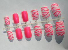 Neon Pink Zebra Fake Nails - False, Artificial, Acrylic, Press-On. $12.00, via Etsy.