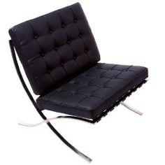 Pavilion Black Leather Modern Accent Chair $349