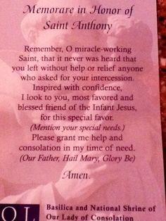 St. Anthony's prayer