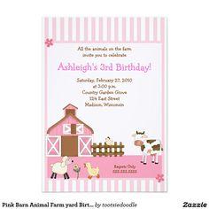 """Pink Barn Animal Farm yard Birthday Invitations 5"""" X 7"""" Invitation Card"""
