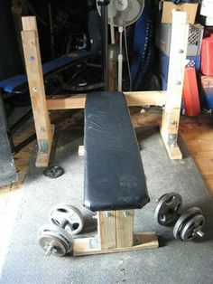 DIY Exercise Equipment Projects - Homemade Weight Lifting Bench - Homemade Weights and Strength Training Projects - How To Build Simple and Easy Fitness Eq Homemade Gym Equipment, Diy Gym Equipment, No Equipment Workout, Fitness Equipment, Home Made Gym, Diy Home Gym, Weight Lifting Equipment, Basement Gym, Garage Gym