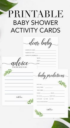 Entertain your baby shower guests and create beautiful keepsakes for mom-to-be with these green baby shower games. This fun printable baby shower game pack includes the following popular baby shower games: • Baby Prediction card • Baby Wishes card • Advic Baby Shower Checklist, Baby Shower Advice, Baby Shower Themes, Baby Boy Shower, Shower Ideas, Baby Theme, Wishes For Baby Cards, Baby Wishes, Baby Shower Activities