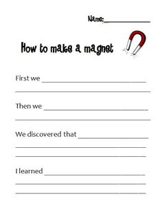 "Worksheet to go with ""Let's make a magnet"" lesson in Magnet unit pinned in this folder"