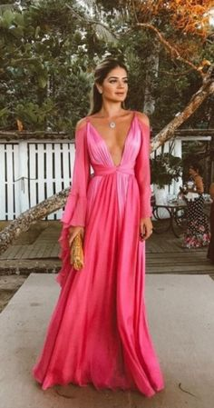 Sexy Deep V Collar Long-Sleeved Long Expansion Vacation Dress,Backless Evening Dress,Chiffon Prom Dress · lass · Online Store Powered by Storenvy Evening Dresses With Sleeves, Chiffon Evening Dresses, Sexy Dresses, Beautiful Dresses, Prom Dresses, Dress Prom, 1950s Dresses, Dresses 2016, Summer Dresses