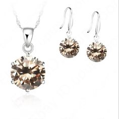 "Sterling Silver Cubic Zircon Set Shinny CZ necklace & earring set. Sterling silver stamped 925. Champagne color. Earrings 1"" necklace 18 1/2"" New! Jewelry"