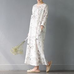 Floral ramie plate buckle loose dress #OnePiece #overalls #pants #linen #linendress #loosepants