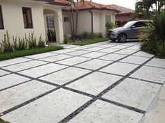 Photo of Concrete Connection - Davie, FL, United States. We specialize in modern rectangle concrete driveways. Diy Concrete Driveway, Modern Driveway, Driveway Design, Concrete Driveways, Driveway Landscaping, Driveway Gate, Modern Landscaping, Driveway Ideas, Walkways