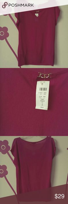 """Cache New Hot pink cold shoulder blouse Medium New with tags shear blouse by Cache split on a shoulders and short raglan sleeves .From armpit to armpit 19-20 length 25"""". SRP 88$ Cache Tops Blouses"""