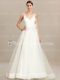 V-Neck Modest Bridal Gown with Tulle Skirt BC712
