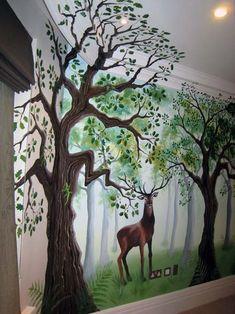 Children's bedroom forest mural Woodland Room, Autumn Room, Forest Bedroom, Forest Mural, Wall Stickers Wallpaper, Wall Murals, Wall Art, Wall Drawing, Mural Ideas