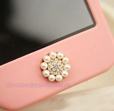 Bling home button sticker for iphone ,phone charm for iphone pearl and crystal