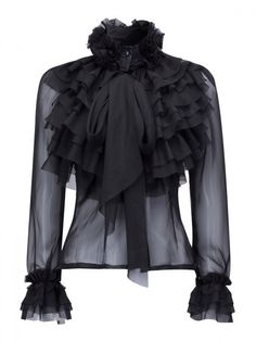 Black High Neck Bow Tie Front Layered Ruffle Sheer Shirt  | WithChic