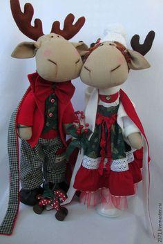 Купить Новогодние Олени - бордовый, зеленый, олень, олень новогодний, кукла ручной работы