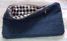 Diy Denim Pencil Case made from old blue jeans.