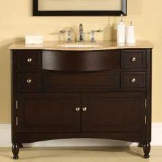 Silkroad Exclusive Travertine Top 45-inch Single Sink Vanity Cabinet | Overstock.com Shopping - The Best Deals on Bathroom Vanities