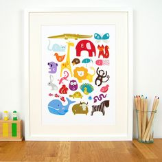 Animal alphabet baby nursery and toddler room art print by British illustrator Feena Brooks from Little Ink