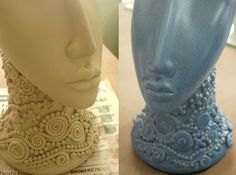 The Blue bust - before and after
