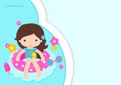 Convite para festa infantil Pool Party Menina                                                                                                                            Mais
