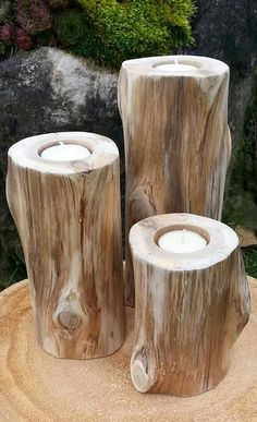 natural cedar log candle holders