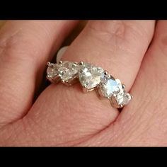 Stunning Heart Ring 18k White gold plated 5.00 ctw heart ring. CZ diamonds. Costume jewelry. Golden Moon Inc. Jewelry Rings