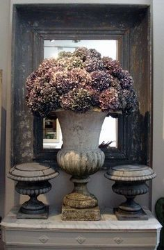 I love the antique colours of faded hydrangea flowers. Have these in the garden and the heads last for ages if sprayed.