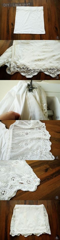 DIY Lace Skirt #DIY #Sew #Sewing #Clothes #Skirts