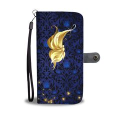 Profile Butterfly on Blue Rose Damask RFID Blocking Cell Wallet Case