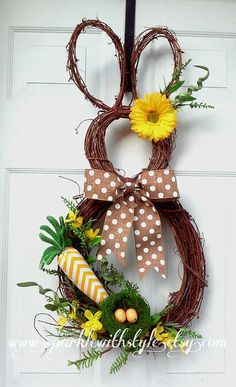 Items similar to Bunny Wreath - Easter Wreath - Easter Decoration - Easter Bunny Wreath - Spring Wreath - Summer Wreath - Easter Door Decoration on Etsy Easter Wreaths, Holiday Wreaths, Holiday Crafts, Easter Projects, Easter Crafts, Easter Decor, Easter Centerpiece, Bunny Crafts, Easter Ideas