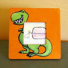 T Rex Dinosaur Wooden Picture Frame by iheartkidart on Etsy, $12.00