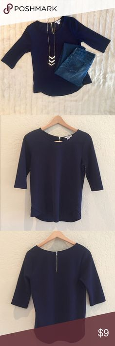 BarIII Navy Shirt BarIII navy top with exposed zipper closure in back. Size L. Gently worn. Bar III Tops Blouses