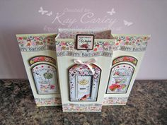 A dimensional card that folds flat for posting. Made with Hunkydory's Boutique Chic collection