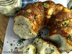 Garlic Parmesan Pull Apart Monkey Bread Biscuits Recipe is easy to make when you use frozen biscuits and homemade garlic butter from Walking on Sunshine Recipes.