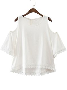 White Dip Hem Cold Shoulder Embroidery Blouse