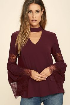 4b3b40e64ff1d Step and Repeat Burgundy Lace Long Sleeve Top