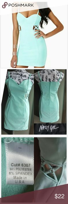 Nasty Gal Mint Dress Like new No wear Side cut outs  Size is a Large but its a juniors large. Fitst like a womans Medium.  Would fit great on a size 6 or 8 Nasty Gal Dresses Mini