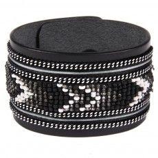 Bracelet en cuir noir Apache avec ruban satin et perles