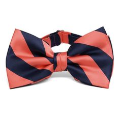 Shop coral and navy blue bow ties at discount prices. This two-color design is perfect for the guys in your coral wedding. Accessories to match. Navy Blue Bow Tie, Coral Tie, Striped Ties, Eggplant Purple Wedding, Coral Navy Weddings, Wedding Colors, Wedding Ideas, Wedding Planning, Wedding Stuff