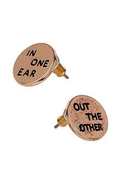 In one ear stud earrings