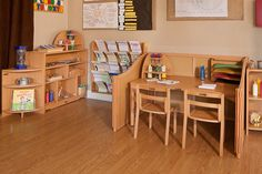 Writing nook, Reggio classroom environment. Most of the Reggio pics I see are for preschool or kindergarten, so it's nice to see stuff made for older kids.